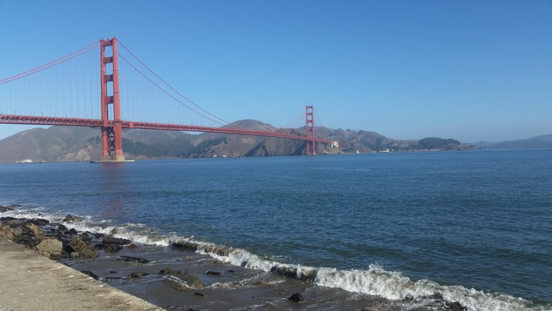 cycling past golden gate bridge