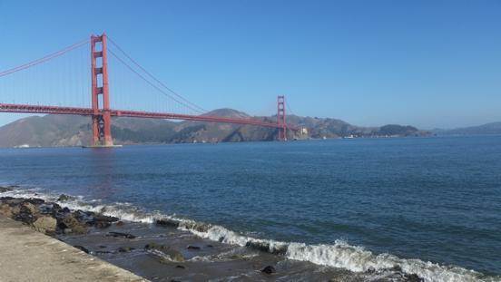 cycling past golden gate bridge