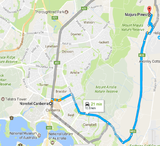 How to get to Majura Pines
